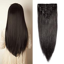 Double Weft Clip in 100% Remy Human Hair Extensions #1B Natu