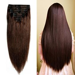 Double Weft 100% Remy Human Hair Clip in Extensions #2 Dark