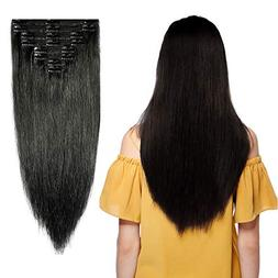 #1 Jet Black Clip in 100% Remy Human Hair Extensions Double