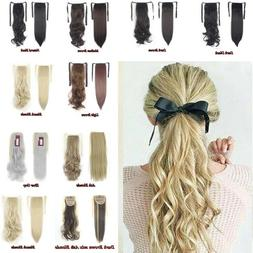 drawstring ponytail hair extension hairpiece clip in