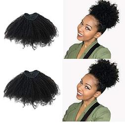 EIAKE Hair 4B4C Afro Kinky Curly Ponytails Clip In Human Hai