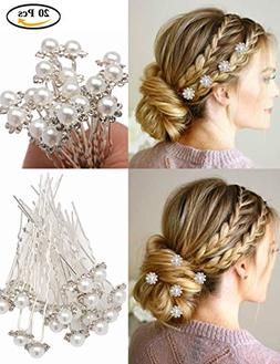 Fani 20pcs Elegant Hairpin White Pearl Jewelry Flower Bridal