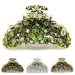 Elegant metal hair claw jaw rhinestones crystal flowers clip