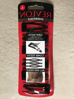 REVLON essentials Hair Clip BLACK Double Grip Clips  grips D