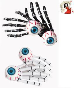 BANNED eyeball skeleton hands HAIR CLIPS pair of Halloween h