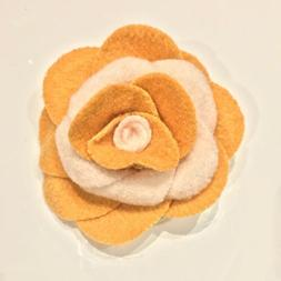 FASHION ACCESSORY - Yellow White Flannel Rosette Floral Flow