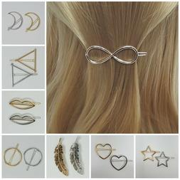 Fashion Barrette Metal Hair Pin Clip Gold Silver Multi Shape
