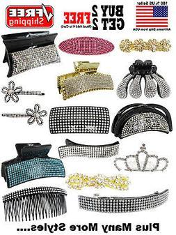 Fashion Crystal Rhinestone Hair Clip Barrette Claw Clip Hair