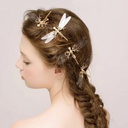 Fashion Dragonfly Hair Clip Pearl Bridal Headdress Gold Hair