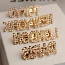 Fashion Pearl Letters Hair Clip Bobby Pin Stick Barrette Hai