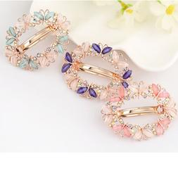 Fashion Women Girls Crystal Rhinestone Flower Barrette Hair