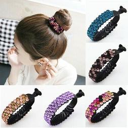 Fashion Women Girls Hair Clip Crystal Claw Ponytail Bun Hold