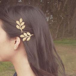 Fashion Women Girls Leaf Hair Clip Hairpin Barrette Bobby Pi