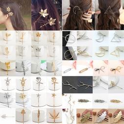Fashion Women Gold Silver Geometry Triangle Hairpin Hair Cli