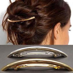 Fashion Women Metal Hairpin Gold Silver Tube Large Hair Clip