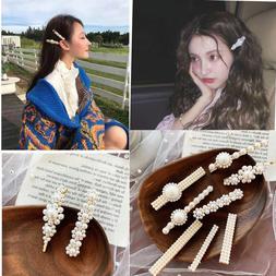 Fashion Women Pearl Hair Clip Snap Barrette Stick Hairpin Bo