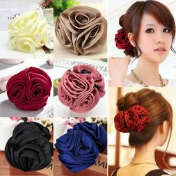 Fashion Women's Chiffon Rose Flower Bow Jaw Clip Barrette Ha
