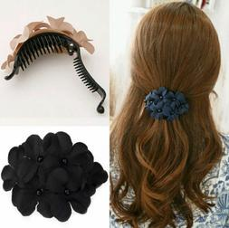 Fashion Flower Rhinestone Clamp Hairpin Barrette Hair Clip W
