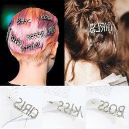 Fashion Women's Girls Rhinestone Hair Clip Crystal Letters H