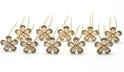 Shengxueer 10pcs Faux Pearl Crystal Flower Hairpins Wedding