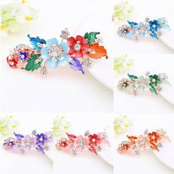 Floral Flower Barrettes  Crystal Hair Clip Headwear Accessor