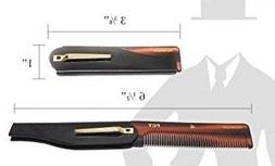 Men's Folding Anti-Static Hair Comb- Handmade/Sawcut - 100mm
