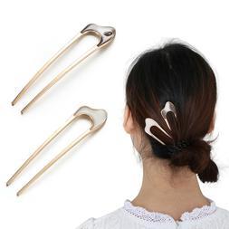 Metallic Hair Care Hair Fork U Shape Hair Clip alloy Metal H