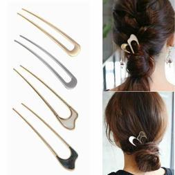 Vintage Metallic Hair Care Hairpin  Metal Hair Stick U Shape