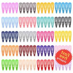 Free shipping 100 Pack Solid Candy Color Barrettes for Girls