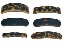 Delsol French Barrette Hair Clip Animal Spot Tortoise Print