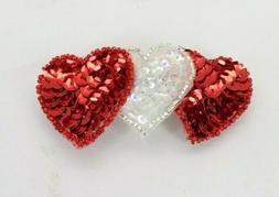Caravan French Decorated Automatic Barrette Red Hearts Hair