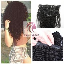 Full Head Afro Kinky Curly Clip in Human Hair Extensions 10p