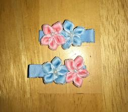 Handmade Gender Reveal Pink and Blue Flowers Hair Clips
