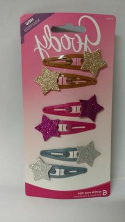 Goody Girls Sparkle Snap Clips , 6/Pack - Colors As Shown
