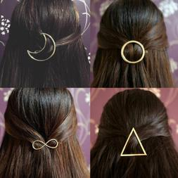 Gold Fashion Hair Clip Hair Pins Moon Triangle Infinity Circ