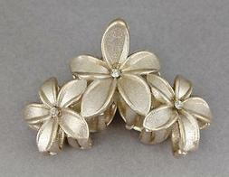 Gold sparkly hair clip claw butterfly clamp flower floral pl