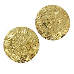 Large Gold Tone Shiny Flower Daisy Design Curved Disc Clip E