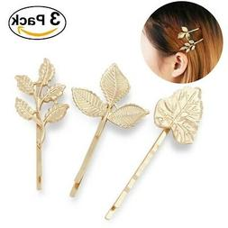 - Pixnor 3pcs Gold Leaf Hair Clips Bobby Pins Vintage Leave