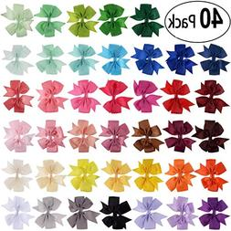 40PCS 3 inch Grosgrain Ribbon Child Hair Bows in Pure Color