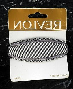 REVLON HAIR BARRETTE CLIP GREY & WHITE STRIPPED FABRIC CLIP