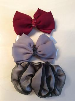 hair bows, clips, set of 3, burgundy, gray with sequence and