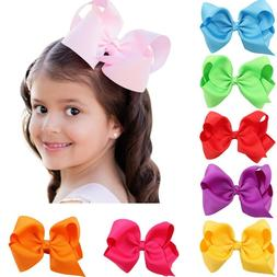 "20 Pcs 6"" Hair Bows Huge Grosgrain Ribbon Boutique Baby Girl"