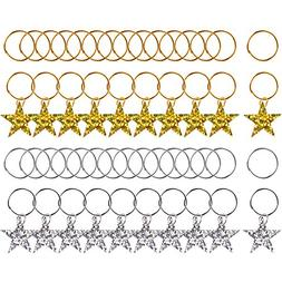 Pangda 50 Pieces Hair Braid Rings Shiny Star Hair Clips Ring