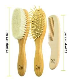 Natural Baby Hair Brush Set of 3 to Prevent Cradle Cap for N