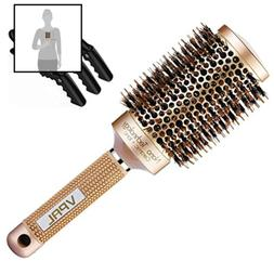 VPAL Round Brush for Blow Drying with 3Pcs Hair Clips, Natur