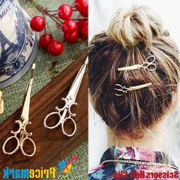 Hair Clip 2 Pack Cute Scissors Style Gold Silver Women Girls
