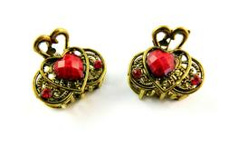 Hair Clips Claws Red Heart Stone Crystals 1 Inch Wide Antiqu