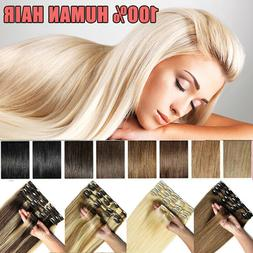 Hair Extensions Clip on Double Weft Remy 100% Human Hair Ful