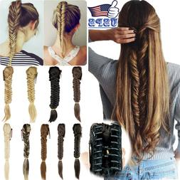 Hair Extensions no Clip In Braided Ponytail Claw Plaited Syn