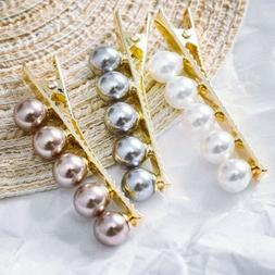 Hair Pin Bundle of 3 Pearl Barrettes Hair Clip Womens Hairpi